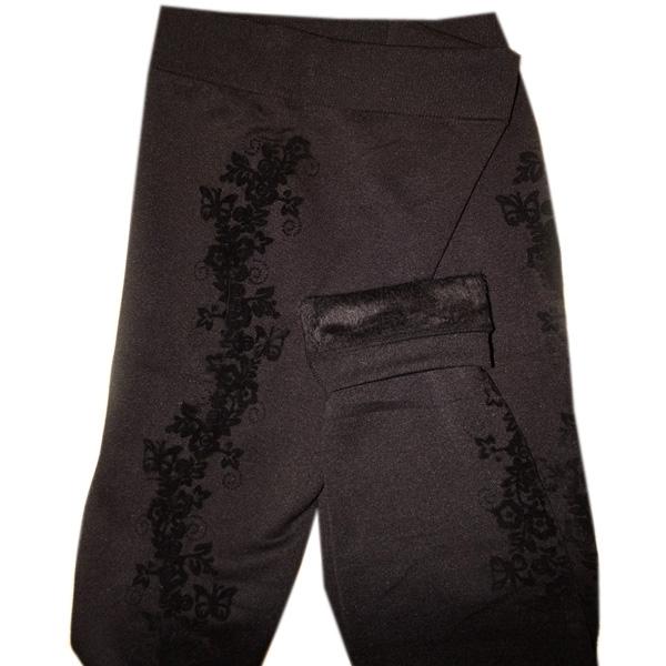 Джеггинсы теплые черные с рисунком фото