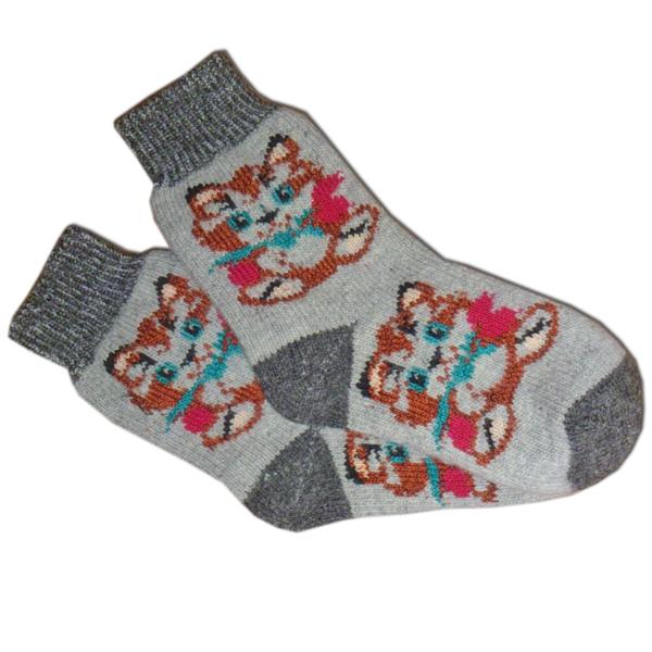 «котенок» (серые) вязаные шерстяные носки N1303