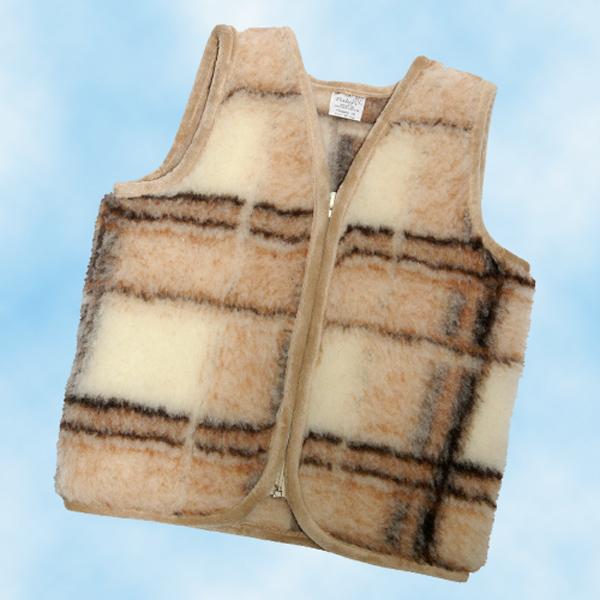 детский меховой жилет без карманов из овечьей шерсти 201 (жаккард)
