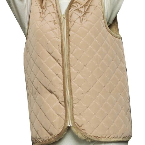 жилет меховой с плащевым верхом без карманов жилеты меховые 243 (бежевый) фото