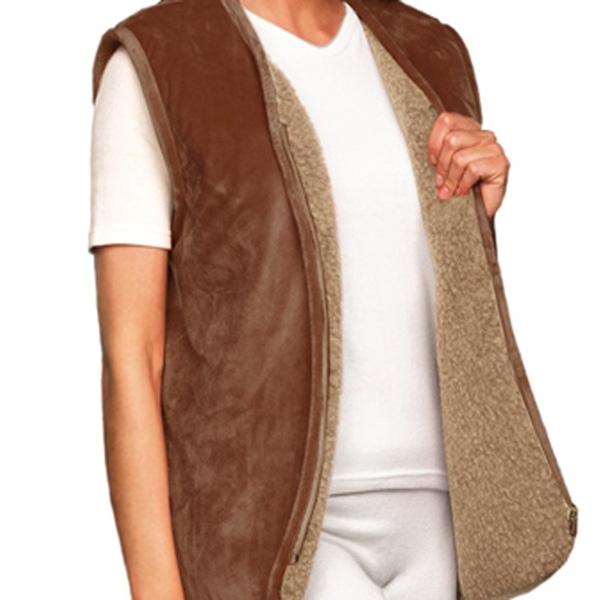 жилет меховой с велюровым верхом (без карманов) жилеты меховые 247 (коричневый) фото