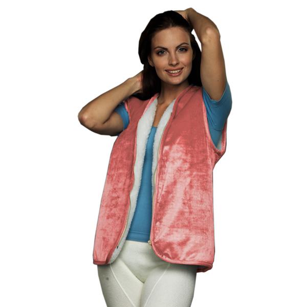 меховой жилет вязанный с велюром (без карманов) жилеты меховые 248 (лил-розовый)