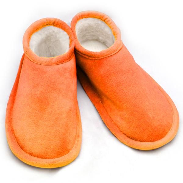 тапочки меховые «шузы» с велюровым верхом 274 (оранжевый)