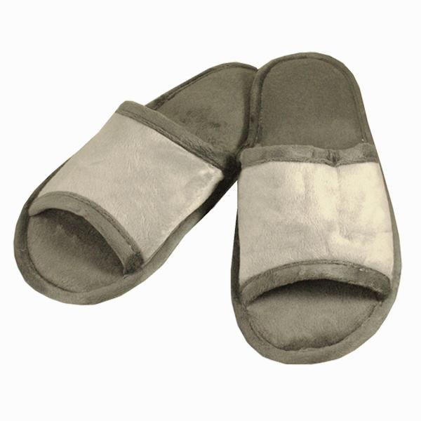 тапочки из хлопка и велюра 302 (gray)