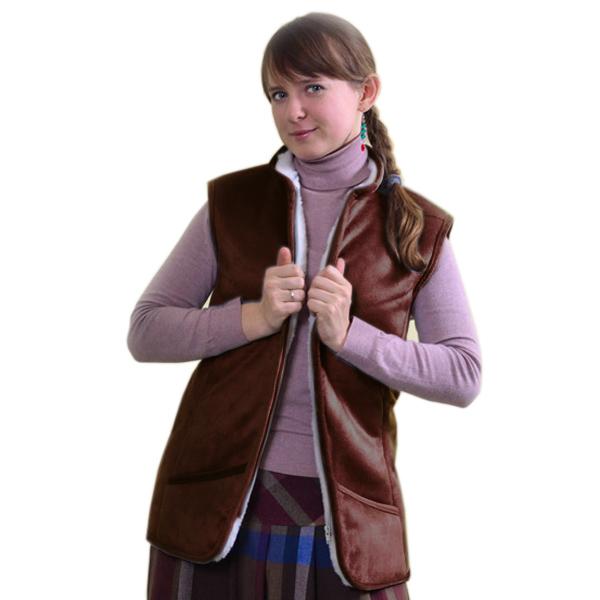 жилет меховой приталенный с велюровым верхом жилеты меховые 330 (коричневый)
