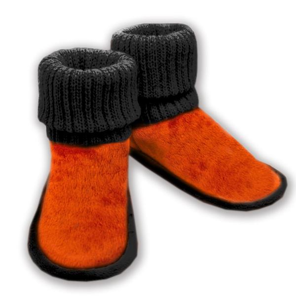 домашние тапочки-сапожки из овечьего меха, с вязанным верхом 332 (оранжевый)