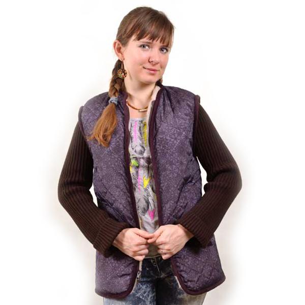куртка меховая с вязанными рукавами и плащевкой 378 (коричневый)