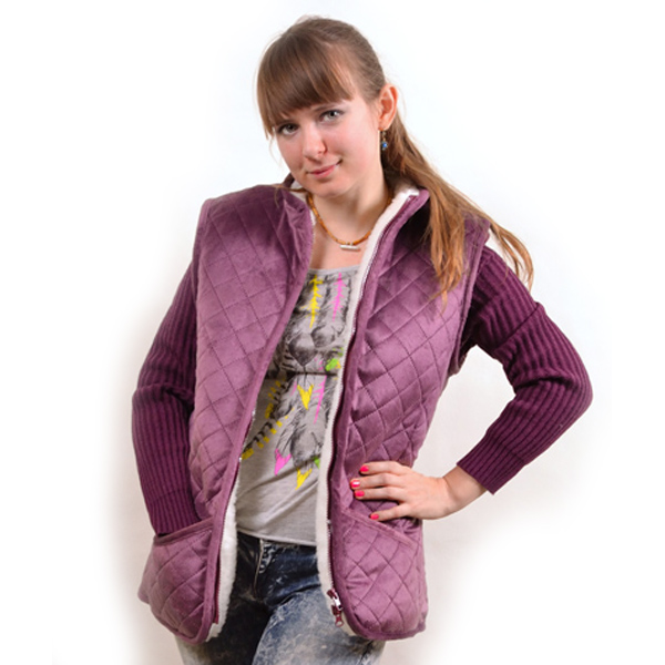 куртка с вязанными рукавами и велюровым верхом 379 (темно-лиловый)