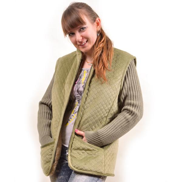 куртка с вязанными рукавами и велюровым верхом 379 (хаки)
