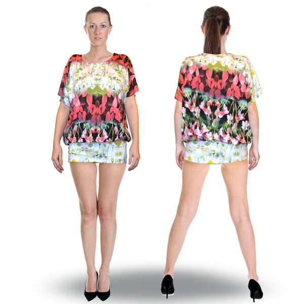 блуза-туника «весна» женский трикотаж 480 (цветы)