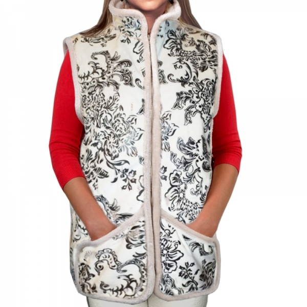 жилет меховой с воротником - стойкой и карманами зима жилеты  482 (зима)