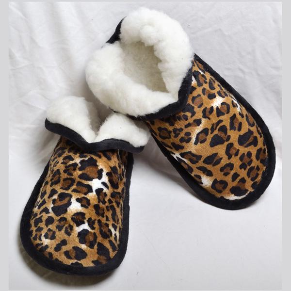 тапочки «меркуры» из меха «леопард» 491 (бежевый)