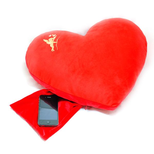 подушка-подголовник «сердечко» с кармашком 508 (красный)