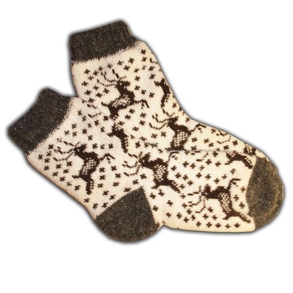 «олени» вязаные шерстяные носки N1133