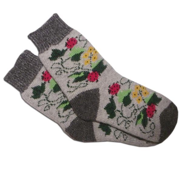 «божьи коровки» (серые ) вязаные шерстяные носки N1207s