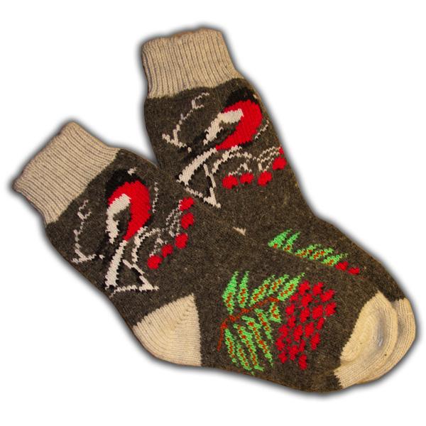 «снегири» (черные) вязаные шерстяные носки N1407b
