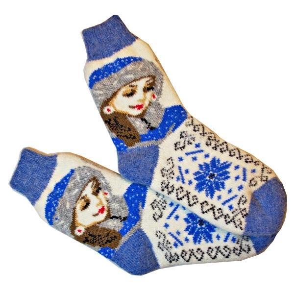 «СНЕГУРОЧКА» Вязаные шерстяные носки подарок на новый год