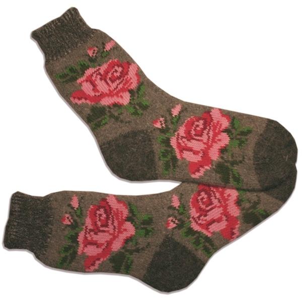 «БОЛЬШИЕ РОЗЫ» (серые) Вязаные шерстяные носки