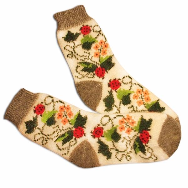 «божьи коровки» вязаные шерстяные носки N1207