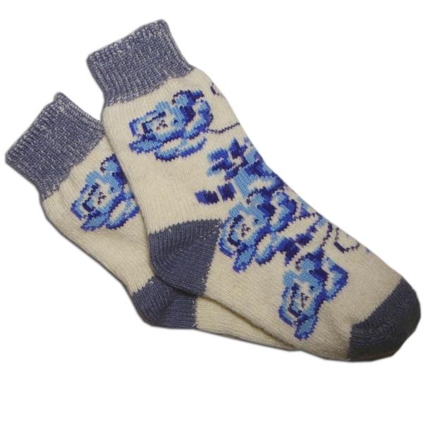 «гжель» вязаные шерстяные носки N1211