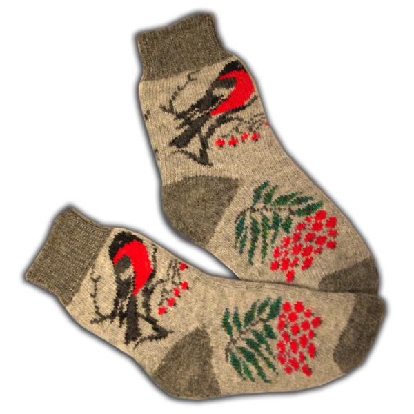 «снегири» (серые) вязаные шерстяные носки N1128s