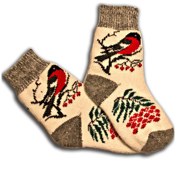 «снегири» вязаные шерстяные носки N1128