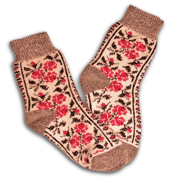 «красные розы» вязаные шерстяные носки N1134
