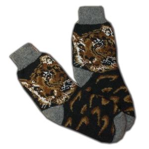 «ТИГРЫ» Вязаные шерстяные носки