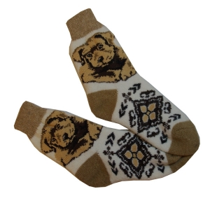 «СОБАЧКА»  Вязаные шерстяные носки