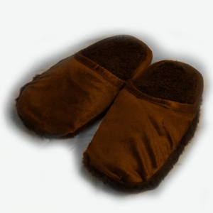 Пантолеты на меховой подошве с верхом из велюра