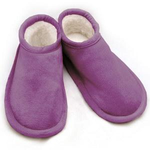тапочки меховые «шузы» с велюровым верхом 274 (фиолетовый)