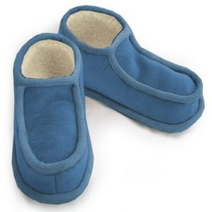 тапочки меховые «башмачки» с велюровым верхом 275 (голубой)