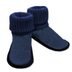 домашние «угги» из овечьего меха, с вязанным верхом 332 (тем.синий)