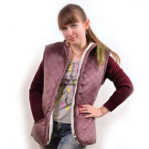 Куртка меховая с вязанными рукавами и плащевым верхом