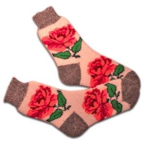 «БОЛЬШИЕ РОЗЫ» (белые) Вязаные шерстяные носки