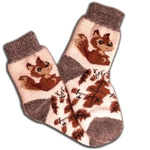 «БЕЛОЧКИ» Вязаные шерстяные носки